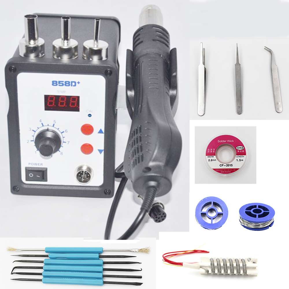 858D 700W ESD Heat Gun Solder Rework Station LED Digital Solder Desoldering Station BGA Rework Hot Air Gun With Free Gift bg removable bga rework solder lcd digital hot air gun heat gun welding toolsa rework station 220v portable