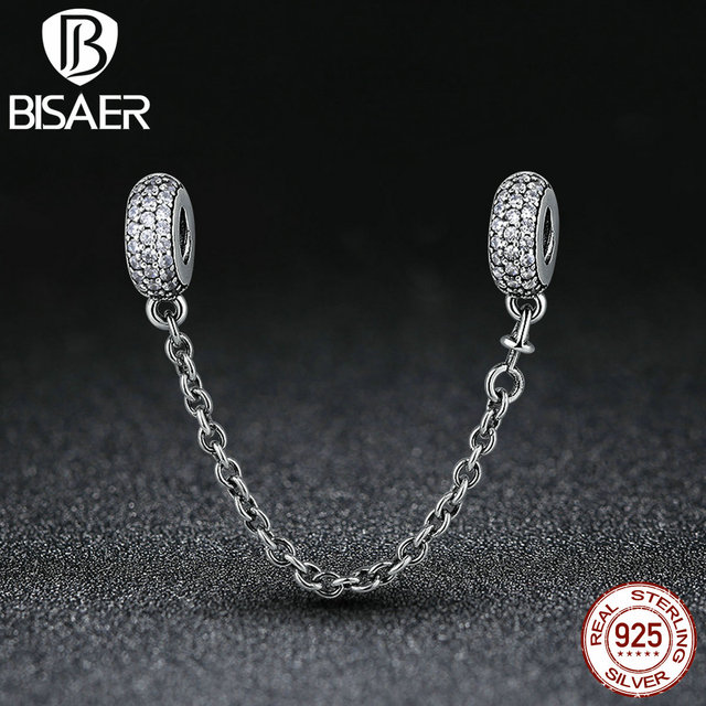 Black Friday 100% 925 Sterling Silver Pave Inspiration Safety Chain, Clear  CZ Stopper Charms
