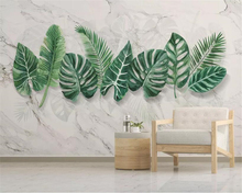 Beibehang Custom Photo wallpaper Modern 3D Marbling hand-painted plant leaves Mural Wallpaper Living Room Backdrop Wall Painting