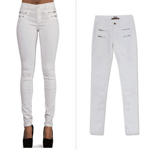 Image 4 - SupSindy אופנה נשים עור מפוצל מכנסיים נמוך מותן רוכסן לבן חותלות Wild slim מכנסיים סקיני עור מכנסיים לנשים מכנסיים