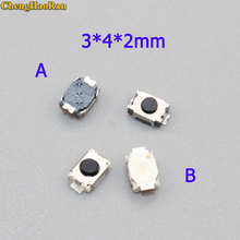 ChengHaoRan 10pcs SMD 2 Pin 3X4MM Tactile Tact Push Button Micro Switch Momentary 3*4*2 MM