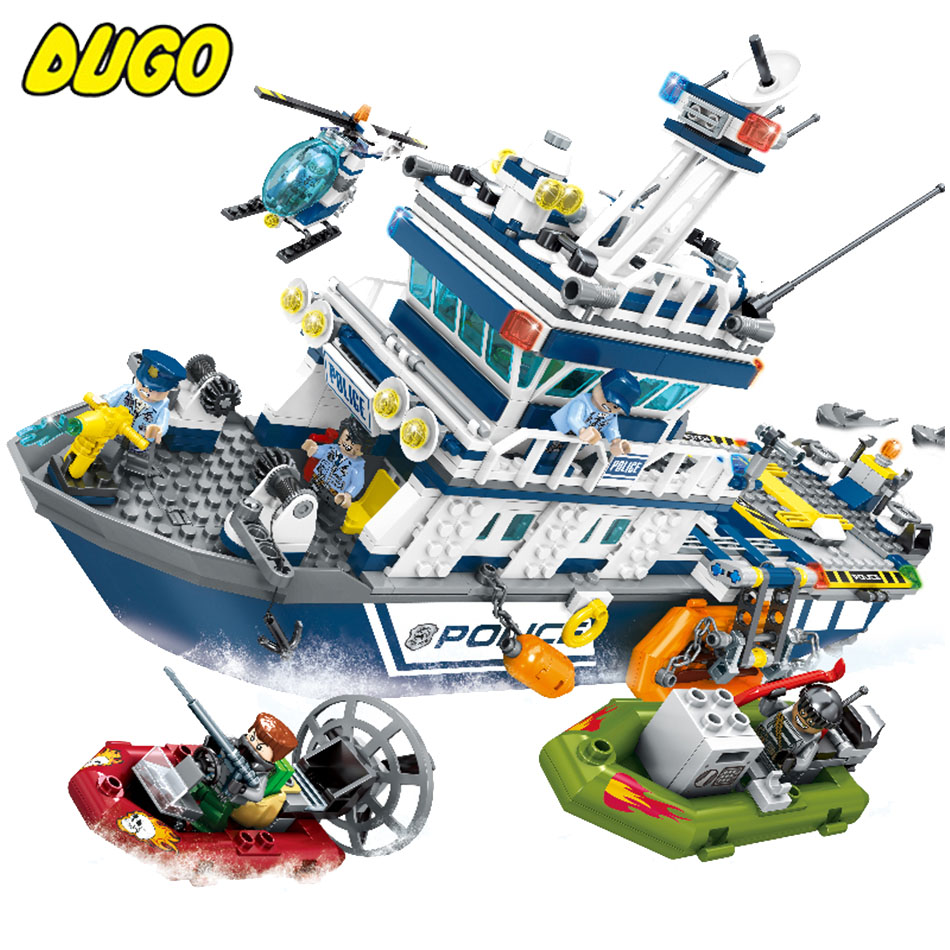 Coastguard Patrol boat Helicopter Building Model Blocks Toys Set Compatible Legoe City Air Force Police Bricks toys For Children b1600 sluban city police swat patrol car model building blocks classic enlighten diy figure toys for children compatible legoe