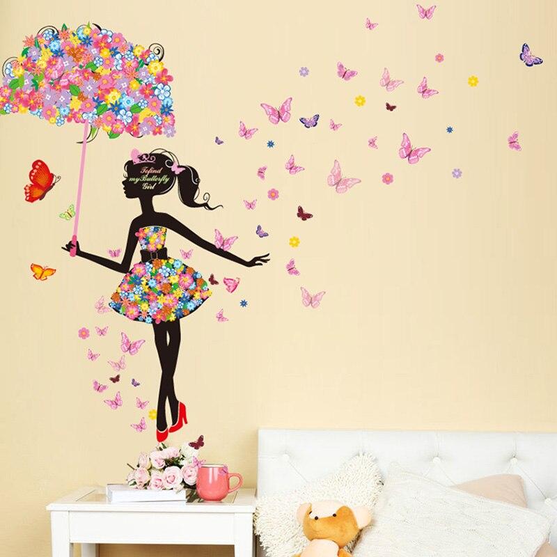 [SHIJUEHEZI] muchacha de hadas pegatinas de pared vinilo DIY mariposas arte de pared para niños dormitorios jardín de infancia dormitorio decoración niño regalo