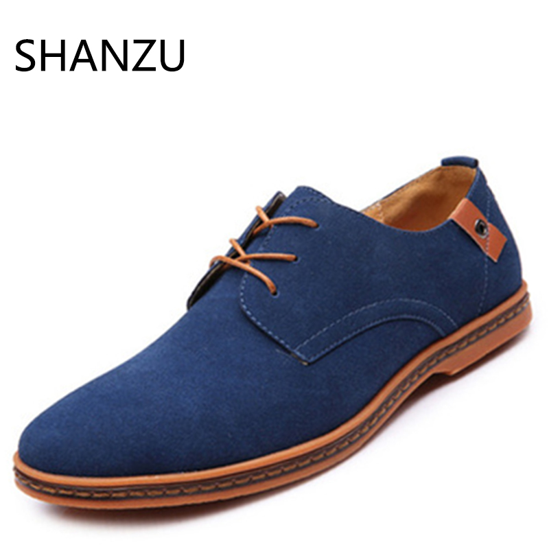 SHANZU New Men's Shoes Loafers   Suede     Leather   Casual Flat Shoes Sneakers Flats for Male Outsole Driving Shoes Footwearr
