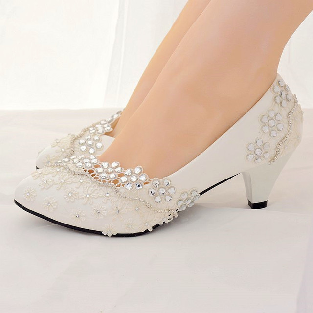 white rhinestone wedding shoes woman high heels pumps women shoes high heel ladies bridal shoes female chaussure femme talon #58