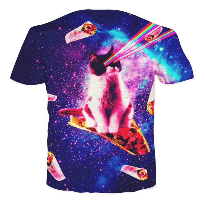 Cats 3D Print T Shirts Women/Mens Top Galaxy Space Pizza Kitty/Laser Cat Funny T Shirt Custom Tops Hipster Tees Dropship