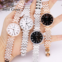Ultra Thin Luxury Claw setting Lady Women's Watch Fashion Crystal Hours Dress Bracelet Woman Clock Girl's Gift Royal Crown Box