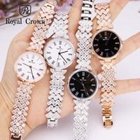 Ultra Thin Luxury Claw setting Lady Women's Watch Fashion Crystal Hours Dress Bracelet Woman Clock Girl's Gift Royal Crown Box