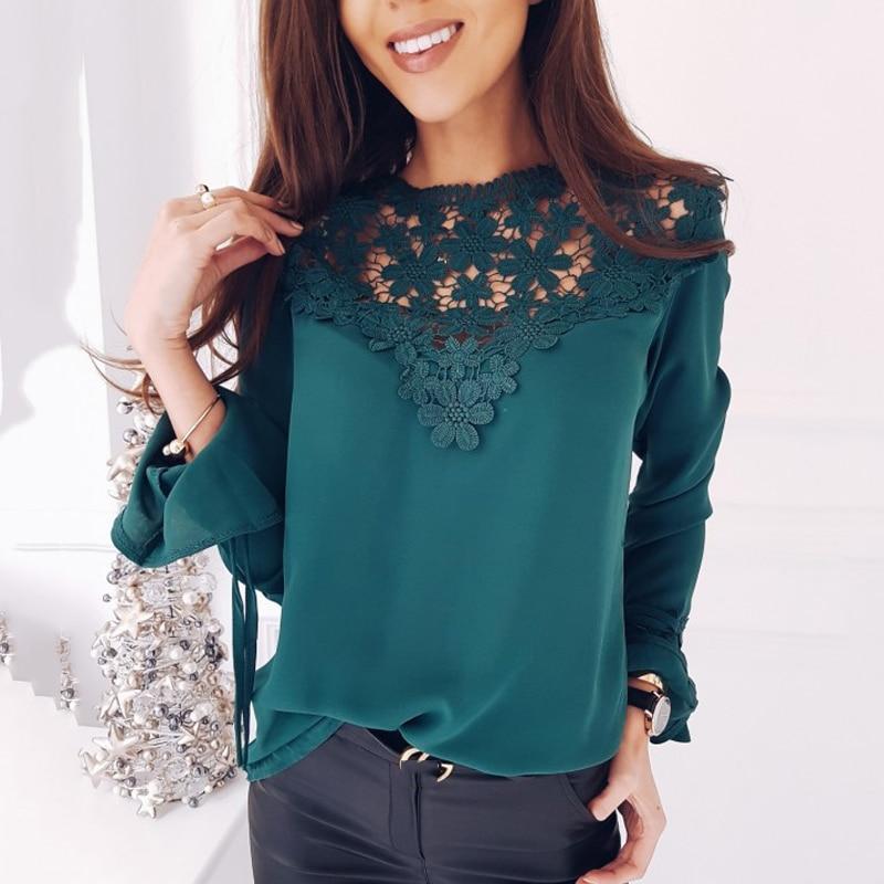 De 2018 Trompeta blanco Flor Manga Gasa Top Camisa Sexy Mujeres Otoño Nuevo Encaje Negro Calado Larga verde Panel rIW4xI1wfq