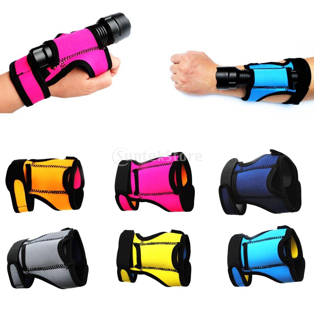 Durable 3mm Neoprene Hand Free Light Holder Glove Underwater Scuba Diving Outdoor Torch Flashlight Holster Hand Arm Mount Strap