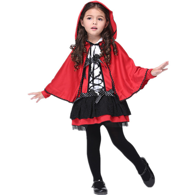 kids red riding hood costumes girls dress little red ridinghood cosplay childrens day purim carnival halloween