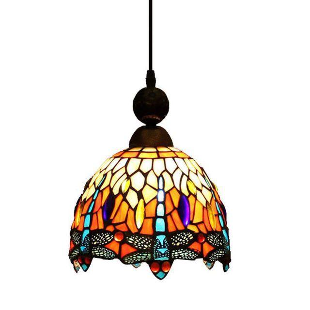Pastoral Tiffany Dragonfly Bar Pendant Lamp Vintage European Dining Room Pendant  Lamp Colored Glass Hallway Pendant