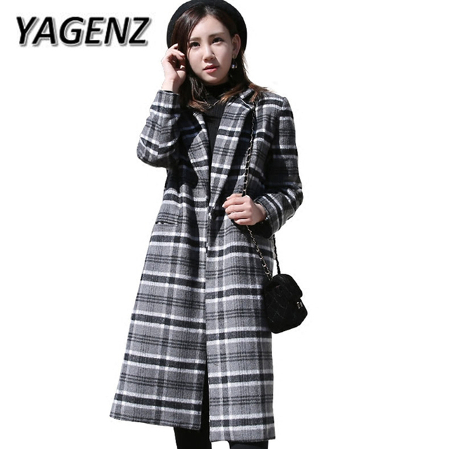 2018 Autumn Winter New Plaid Women Jacket Coats Korean Slim Temperament Loose Long Overcoats Casual Wool Warm Jacket Female 3XL
