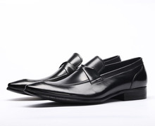 QYFCIOUFU Fashion Oxford Business Men Shoes Famous Men Formal Shoes Pointed Toe Luxury Brand Genuine Leather Slip On Dress Shoes