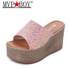Mvp Boy Platform 2018 Bling Metallic High Heels Women Slippers Womens Wedge Shoes Summer Pink White Black
