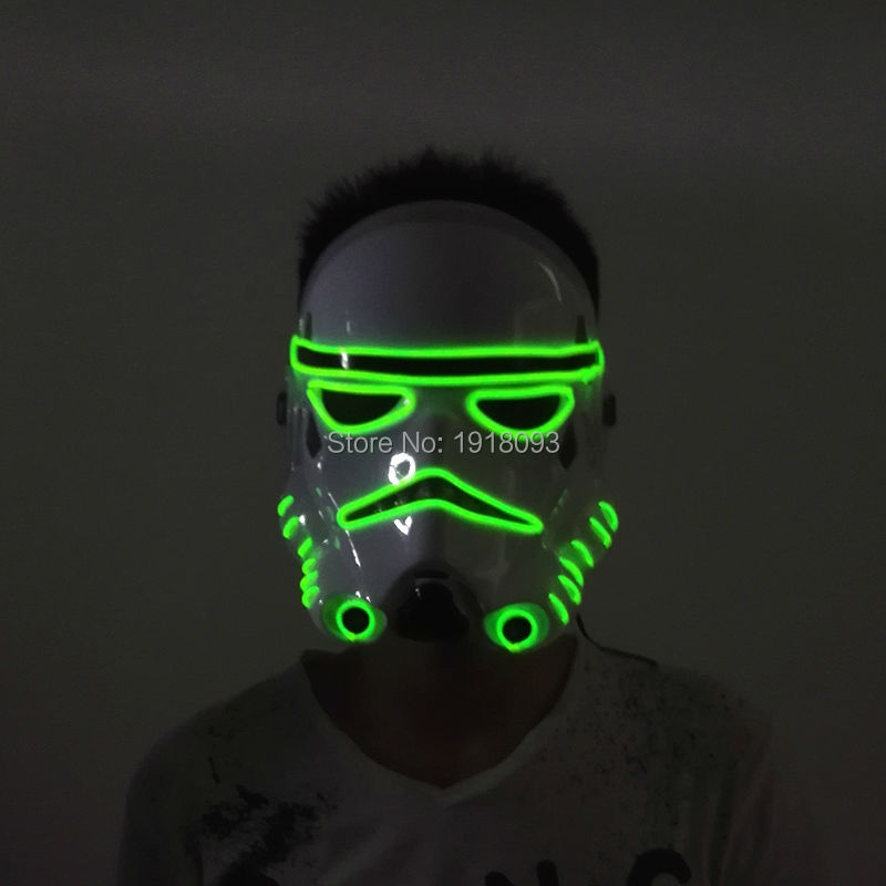 10 Color NEW Arrive EL wire Flashing Mask Neon Glowing Party Decor LED Strip mask for Halloween Christmas Decoration