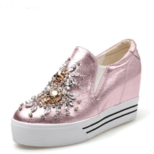 women sexy party autumn spring genuine leather Rhinestone flats zapatos mujer shoes Round Toe Comfortable woman casual shoes