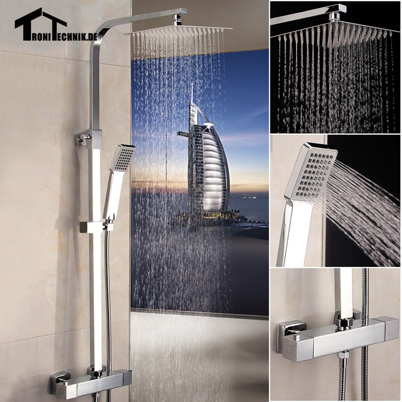 Thermostanic Square Twin Head Round Bathroom Shower Set Shower Mixer Complete Units Chrome Bathroom Bath Brass