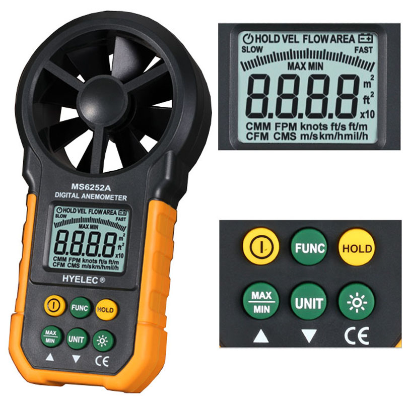 Digital Display Handhold Portable Anemometer Wind Speed Air Flow measure Meter for industrial HVAC/Ventilation System digital indoor air quality carbon dioxide meter temperature rh humidity twa stel display 99 points made in taiwan co2 monitor
