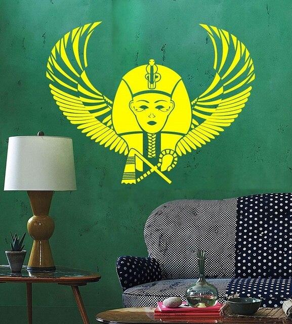 Della parete del vinile applique Faraone Egiziano Ala Egiziano antico del mondo autoadesivi di arte della decorazione della casa soggiorno camera da letto adesivi murali 2AJ1