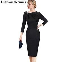 Chu Ni, Осеннее сексуальное черное облегающее Хлопковое платье, женское элегантное платье с рукавом 3/4 для работы, женские вечерние платья, плюс размер, зимние платья