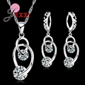 New Good Quality Jewelry Sets 925 Sterling Silver Jewelry Cubic   CZ Pendant Necklace Earrings Engagement Sets