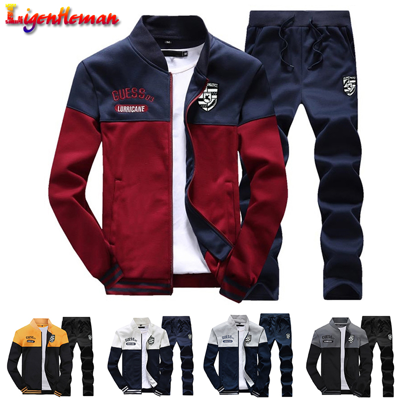 Men Slim Tracksuit 2019 New Arrival Sporting Suit Men Spring And Autumn Casual Sweatshirt+Sweatpants Two Pieces Tracksuit KV586