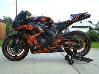 Gloss Black w/ Orange Fairing Injection for 2006 2007 Honda CBR1000RR CBR 1000 RR