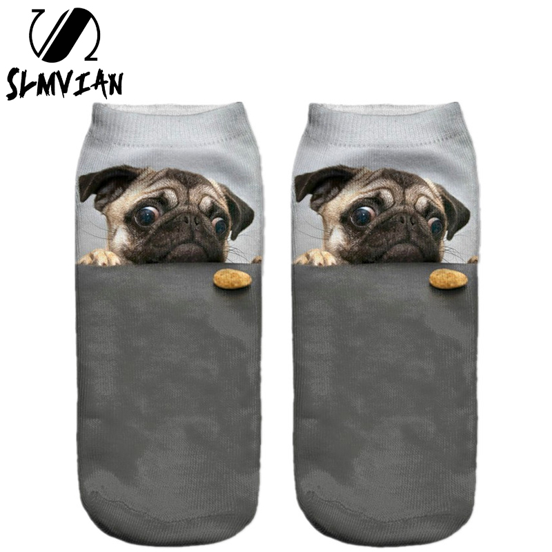 SLMVIAN 3D Print pug <font><b>Animal</b></font> women <font><b>Socks</b></font> Casual cartoon <font><b>Socks</b></font> <font><b>Unisex</b></font> Low Cut Ankle <font><b>Socks</b></font> image