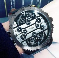 Large Dial Cool Trendy Fashion Brand Watch Men Women Casual Quartz Watch Leather Strap Military Sports