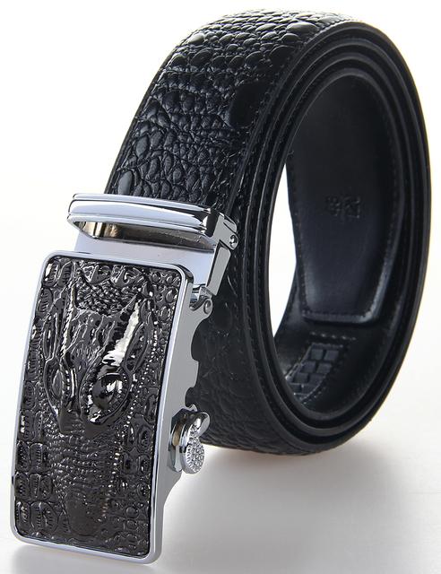 Venta caliente 100% Correas del Cinturón Hombres Cinturones de Cuero Piel de Vaca cocodrilo Textura Cinturones de Moda 3.5 cm de Ancho 2016 Nueva Llegada Fast nave