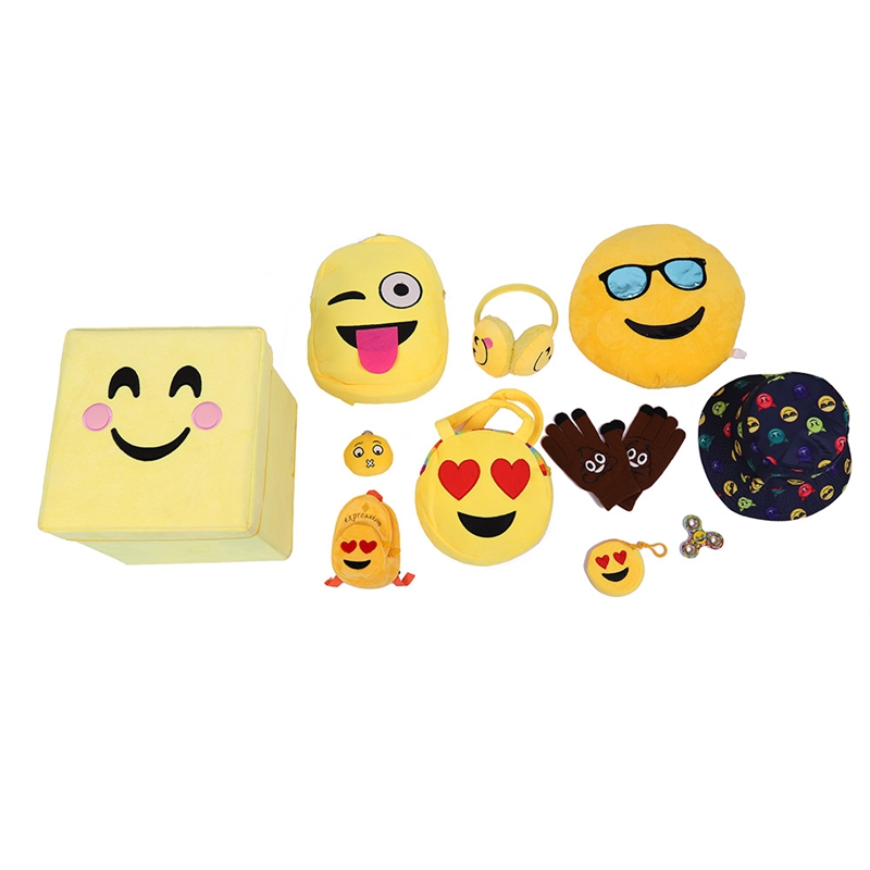 Fashion Emoji Face Expression Box Soft Plush Toy Children Cute Boxes Little Girls Casual Present Plush Toys