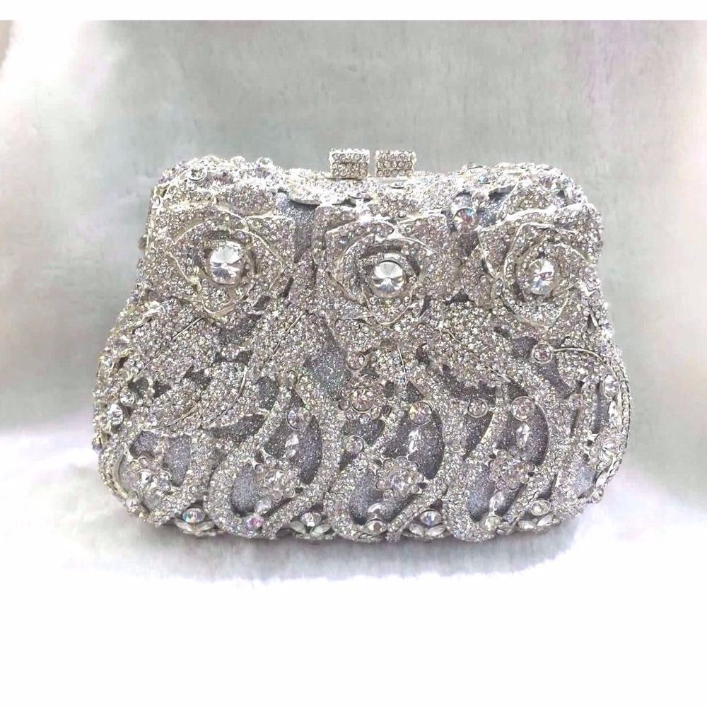 ФОТО 8268 Crystal ROSE Flower Floral Wedding Bridal Party Night hollow Metal Evening purse clutch bag case box handbag