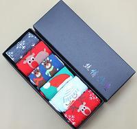 Algodón Navidad Medias pareja cute ELK/copos de nieve/Papá Noel Calcetines para hombres y mujeres Navidad Calcetines con regalo cajas