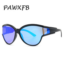 PAWXFB 2019 New Oversized Sunglasses Women Men Mirror Cat eye Sun Glasses High quality Oculos de sol Shades