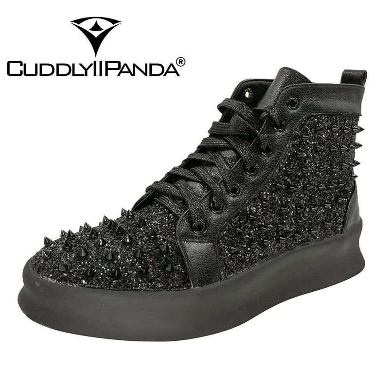 CUDDLYIIPANDA Fashion Luxury Rivet Dance Boots Men Casual High-top Shoes Autumn Martin Boots Youth Popular Smoking Slippers