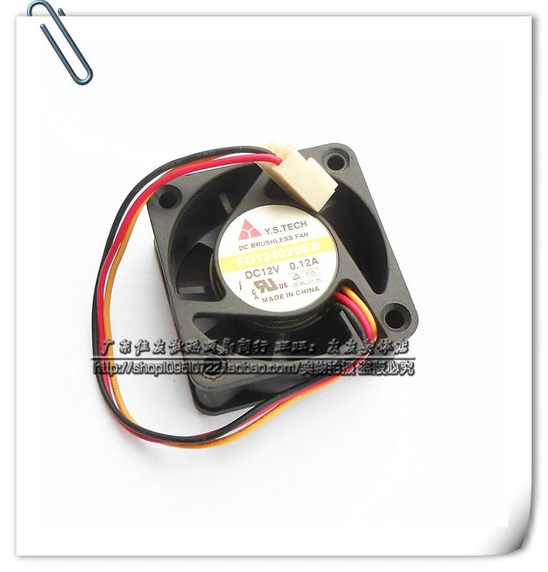 Бесплатная Доставка! Оригинал Y. S. Tech FD124020EB 4020 40 мм 4 см 12 В 0.12A двухместный мяч подшипник вентилятора ультра-прочный