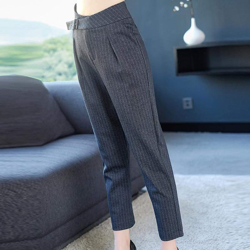 A Fajas Nuevo Rayas Ol Lápiz Mujer Gris Temperamento Pantalones Otoño 2xl 2019 Marca Nueve Primavera De 6nq7Ra