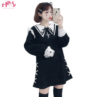 Autumn Winter Harajuku Cute Fashion Dress Japanese Soft Sister Vintage Gothic Lolita Dress Sweet Bow Bandage A line Mini Dresses
