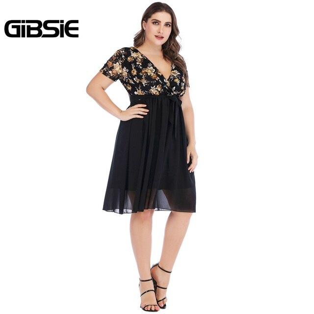 GIBSIE Wrap V Neck Short Sleeve Floral Print Chiffon Dress with Belt Summer Women Elegant Plus Size Knee Length Party Dress 5