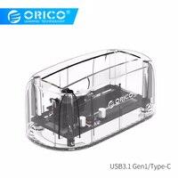 ORICO 6139C3 2.5/3.5 inch Type C Transparent Hard drive Enclosure USB3.1 Gen1 Hard Drive Dock 8TB Drives for Mac/Windows/Linux
