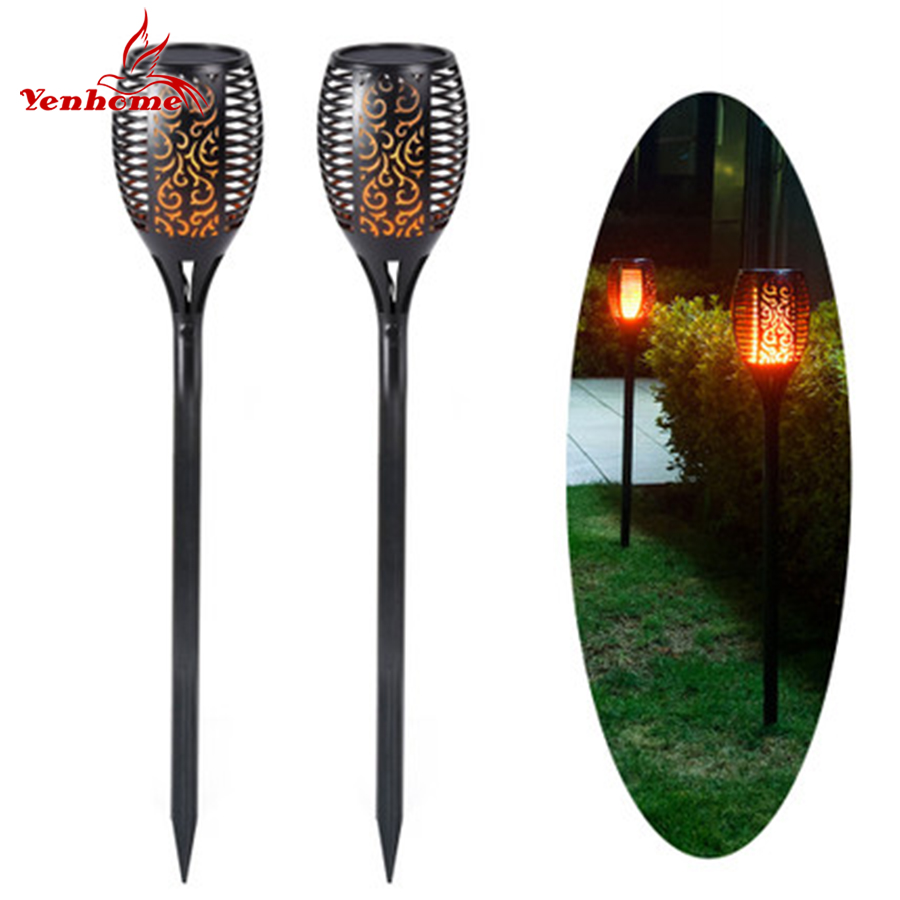 Solar Garden Lights Waterproof Outdoor Solar Torch Light Solar LED Flame Lawn Lamps Outdoor Landscape Decorative Path Lighting ...