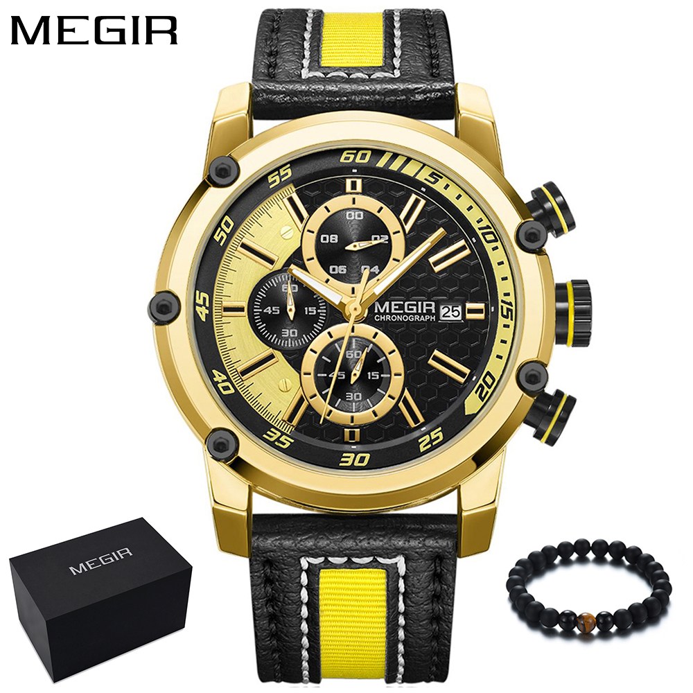 MEGIR Brand Luxury Mens Watches Fashion Leather Nylon Band Military Army Sport Watch Men Quartz Yellow Wristwatch relojes hombre megir fashion watch leather band men quartz watches brand waterproof clock luxury sport man wristwatch army style montre homme