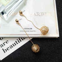 2019 Fashion Metal Imitation Pearl Earrings Temperament Long Hanging Personality Pendant Exaggerated Net Red