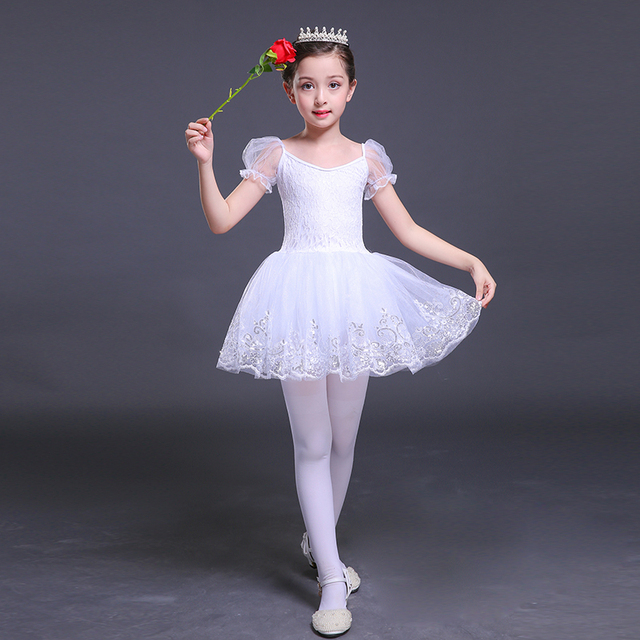 97dd66da1000a Short Sleeve Dance Dress Girls Lace Ballet Dancer Swan Lake White Cotton  ballet skirt Dance Costumes Dress for a Ballerina