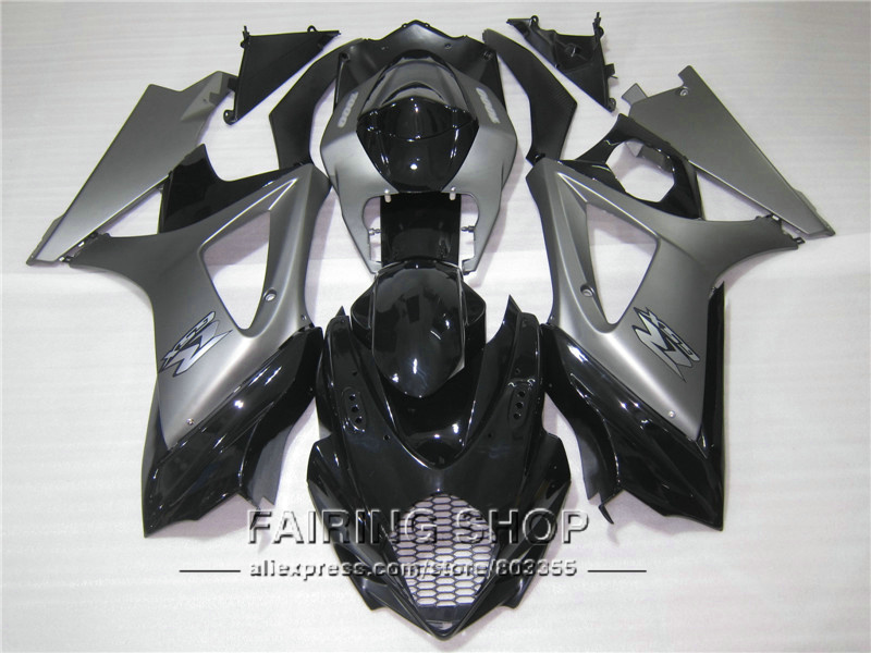 Injection molded fairings for Suzuki GSXR1000 K5 K6 2005 2006 silver black fairing kit GSXR 1000 05 06 VN102