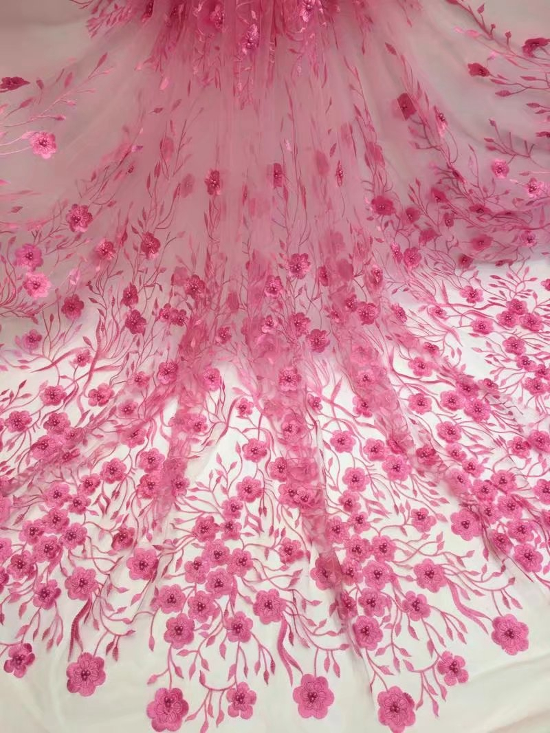 New Big sale African Tulle Lace Fabric 3D embroidered flower Nigerian guipure net material with beads so nice for wedding dress