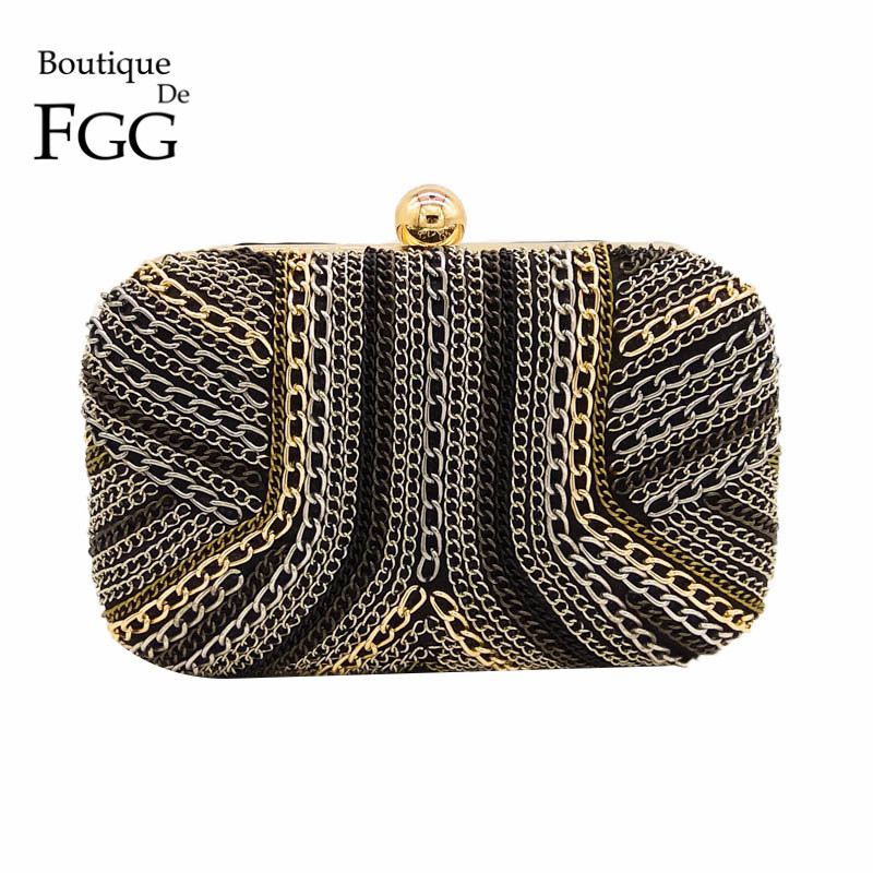 Boutique De FGG Black and Gold Chain Cover Women Satin Evening Purse Metal Clutch Bag Party Dinner Cocktail Minaudiere Handbag utpal kumar de and bhola nath ghosh gender deprivation and empowerment of women