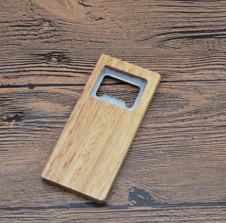 100pcs lot High Quality Beer Bottle Opener Wooden Handle Stainless Steel Square Openers Eco Friendly Anti