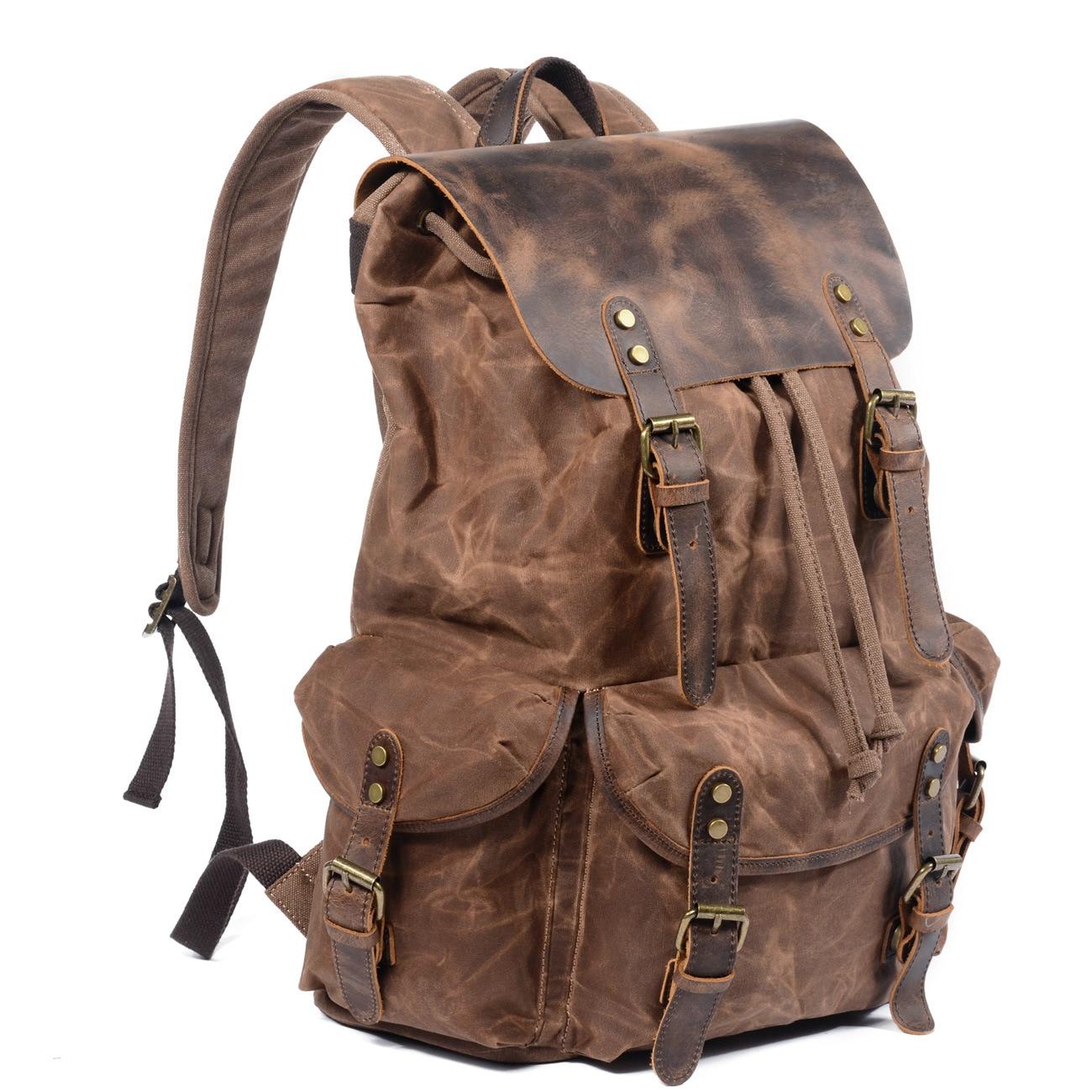 Toile imperméable à l'huile de cire et sac à dos en cuir véritable hommes voyage Vintage sac à dos à cordon grande capacité chaîne pochette d'ordinateur - 2